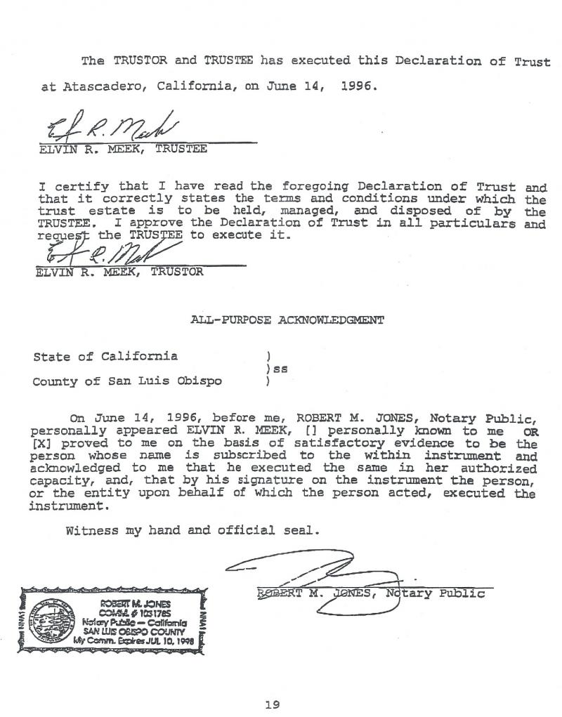 Attorney and two term mayor of rialto elvin meek victim of elder below is the signature page from the 1996 original trust which names me as the trustee compare the signatures above on the forged document xflitez Images