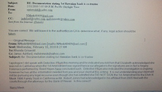 E mail from Elizabeth's attorney re forged documents